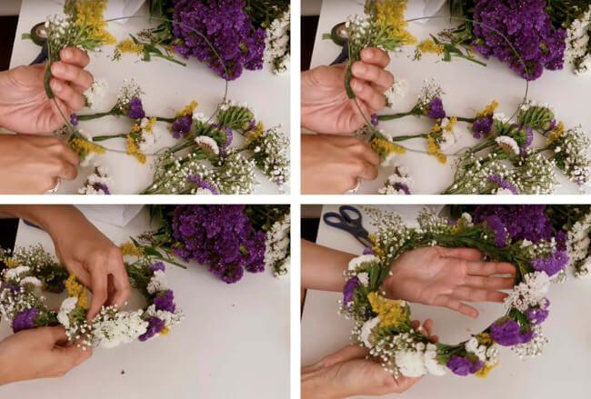 Como hacer una corona de flores naturales