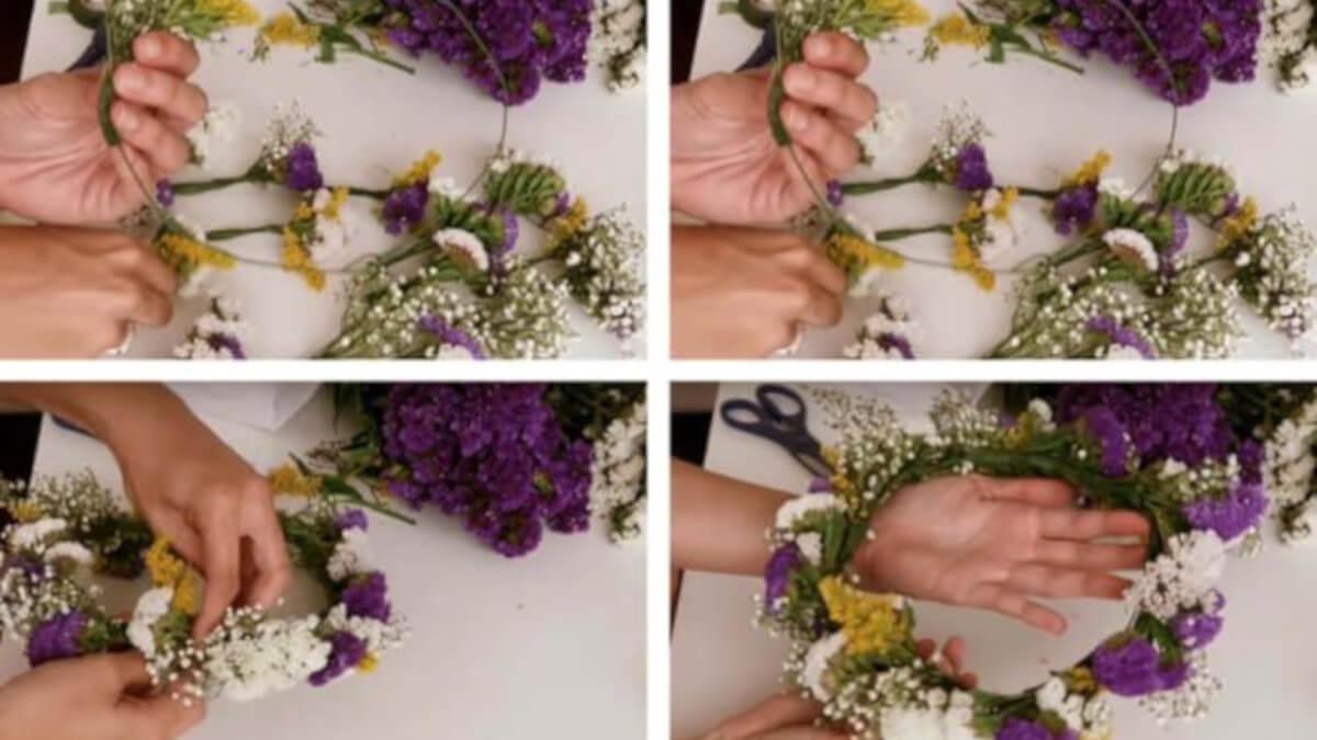 cinta de jardinería para hacer tu propia corona de flores