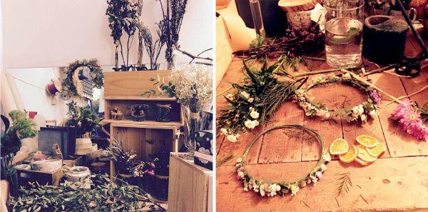 Taller de coronas de flores en Madrid