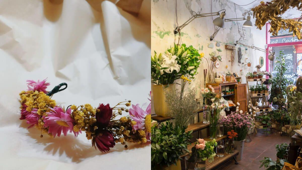 taller de preparación de coronas de flores para el pelo