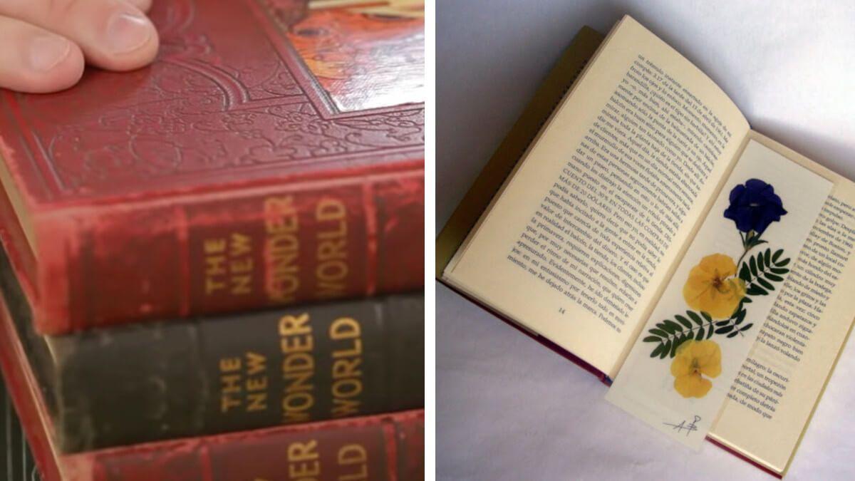 Utilizar libros pesados para prensar las flores